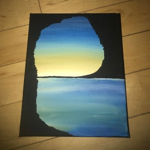 Canvas Cave Ocean Sunset Painting